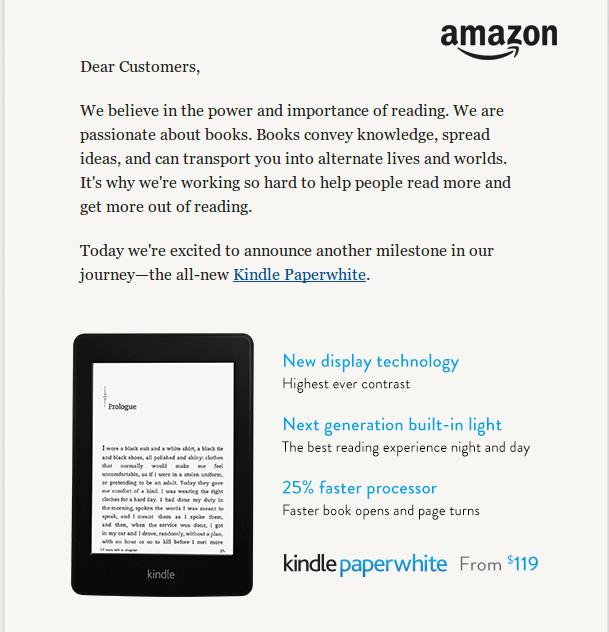 出现在Amazon首页的新一代Paperwhite官方公告,首页打自家的广告
