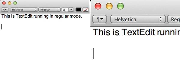 9-Comparison of TextEdit in regular and HiDPI modes