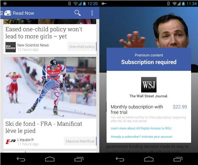 Play Newsstand的信息瀑布流和付费提示