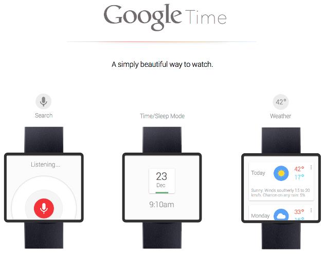 Google智能手表概念图,卡片或扁平化设计更适合小屏幕穿戴设备