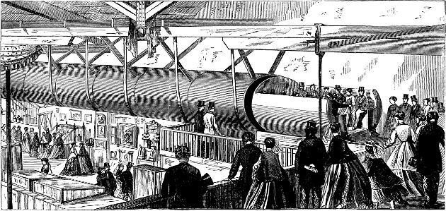 1867年纽约Alfred Ely Beach展示的气动管道地铁方案