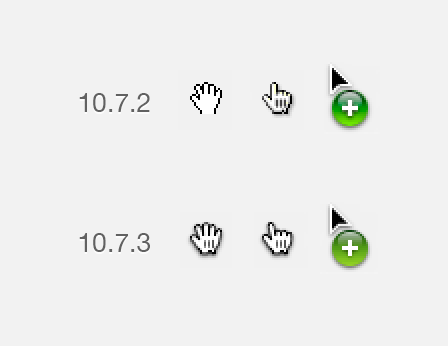 Mac OS X10.7.3 指针图标变化