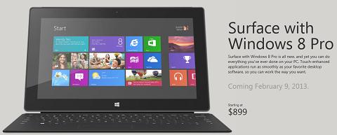 Surface Pro 将于 2 月 9 日推出